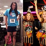 2 Examples of Halloween costumes in very bad taste. Boston Marathon bombing survivor and the World Trade Center attack.
